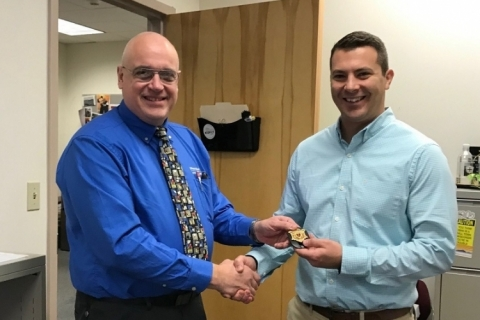 Rob Wallace receives his Safety Officer badge