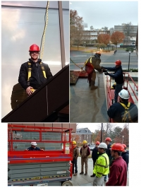 Students from LARP install a green roof on Design Building