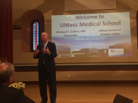 UMass Med Chancellor Collins presents to UMEMS membership